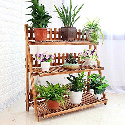 Support de fleurs pliable en bois Ensemble de sol Panoplie de pot de fleurs Balcon Salon Salle de Bonsai Cadre 3 Support de fleurs (taille : 100cm)