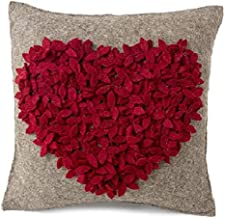 Arcadia Home Handmade Pillow in Hand Felted Wool-Red Heart on Gray-20 Decorative Pillow, Multi