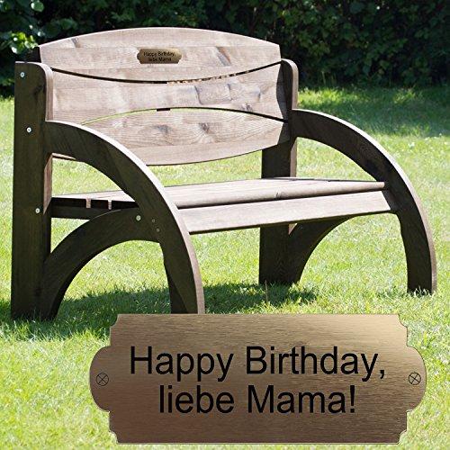 Geschenke 24 Gravierte Geburtstagsbank mit Lehne Nussbaum - Gartenbank für Männer und Frauen mit Wunschtext personalisiert – persönliches Geburtstagsgeschenk