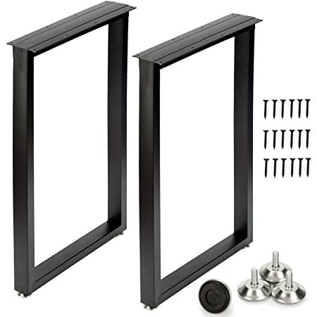 Metal Table Legs 28''Hight 17.7'' Wide Heavy Duty Furniture Legs, Modern Desk Legs Multiple Uses for Dinning Table Coffee Table (Rectangle Shape, 2pcs)-Black