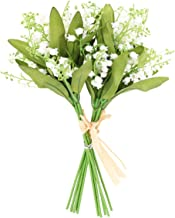 MUFEN Artificial White Flowers Fake Lily of The Valley Bunch Muguet for Home Wedding Decoration,Pack of 12pcs (White)