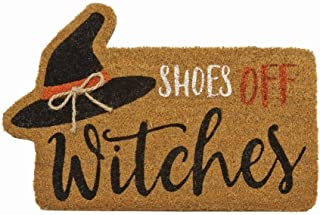 "Mud Pie Halloween Fall Home Garden 18"" x 28"" Woven Coir with Rubber Back Floor Door Mat - Witch 41200016W"