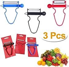 Magic Trio Peelers Set of 3 for Fruit & Vegetable Stainless Steel Easy Peel Shred Slice BPA Free