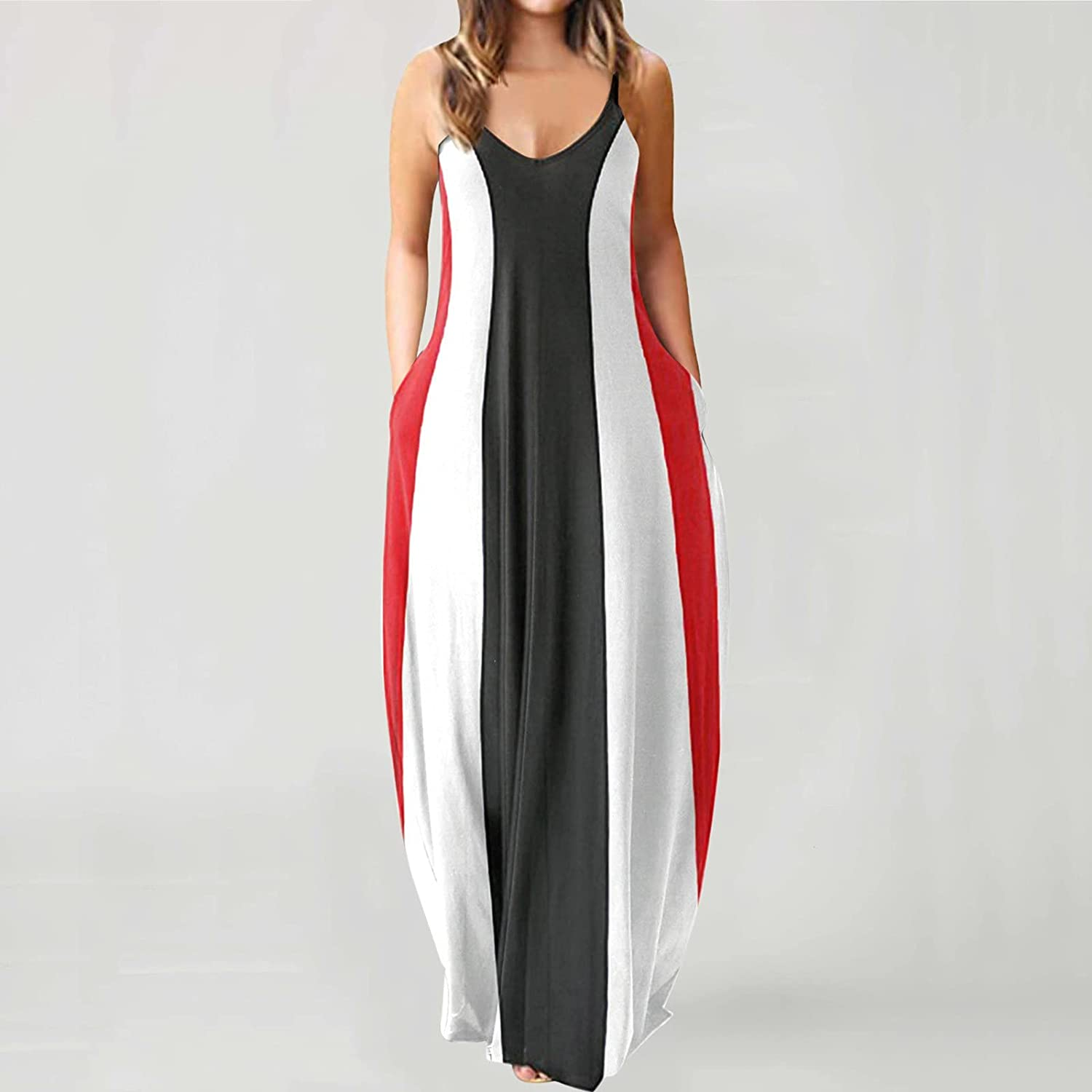 TAYBAGH Dresses for Women Floral Printed Beach Long Maxi Dress Casual Summer Sleeveless Loose Cami Sundress with Pockets