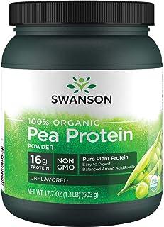 Swanson 100% Certified Organic Pea Protein Powder Non-GMO 1.1 lb (503 g) Pwdr