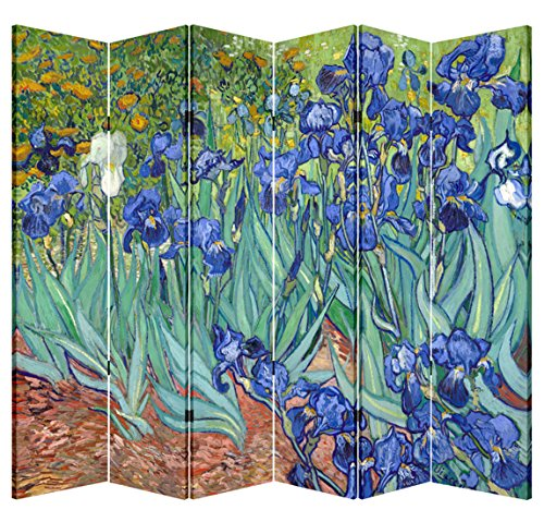 Discover Bargain 6 Panel Folding Screen Canvas Privacy Partition Divider- Van Gogh's Irises
