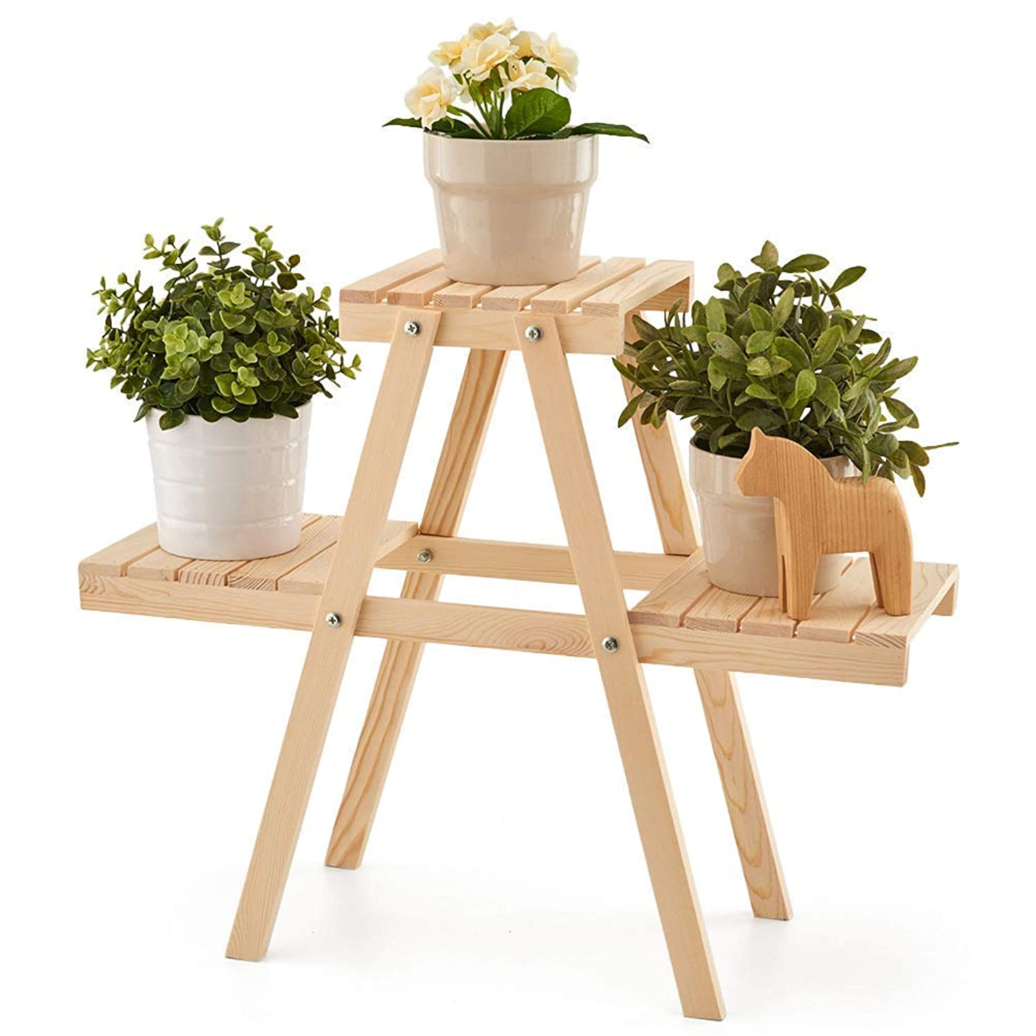EZOWare Plant Rack, Wood Stepping Style Flower Leaves Pot 3 Shelves Stand for Indoor Outdoor Garden Greenhouse