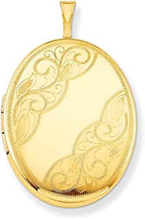 1/20 Gold Filled 26mm Swirled Oval Photo Pendant Charm Locket Chain Necklace That Holds Pictures W/chain Fashion Jewelry Gifts For Women For Her