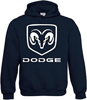 T-Shirt con Cappuccio Maglione Felpa DODGE Big Logo Grigio MOPAR v8 s-5xl