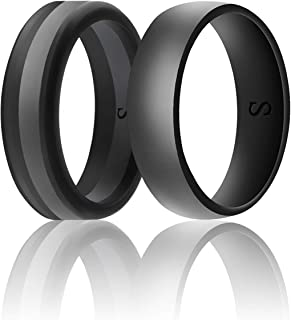 SANXIULY Men's Functional Silicone Ring&Rubber Wedding Bands for Workout and Sports Width 8mm