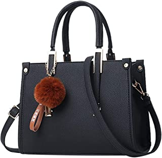 PHL888 Women Hairball Ornaments Tote Solid Sequins Handbag Purse Messenger Shoulder Bag