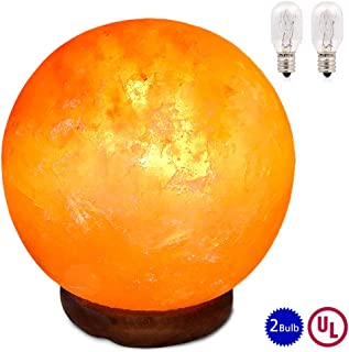 pursalt Himalayan Salt Lamp Night Light Large size 6 inches 15cm Hand Carved Taly Wood Base Pink Crystal Rock Salt Light for Air Purifying, Home Décor, Table Lamp, Gifts, Extra Replacement Bulb, Globe