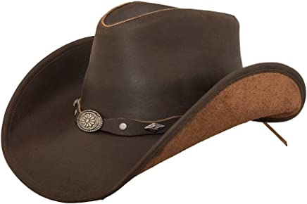 Lucky Trails Rocky Top Concho Band Leather Cowboy Western Hat 082ee5341fd4