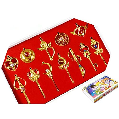Sailor Moon Sailor Pretty Moon Guardian 12pcs Cosplay Keychain Necklace Toy,Golden,one size