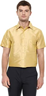 KhodayWilliams Men's Poly Silk Fabric Half Sleeves Casual Shirt and Festivals, Regular Fit