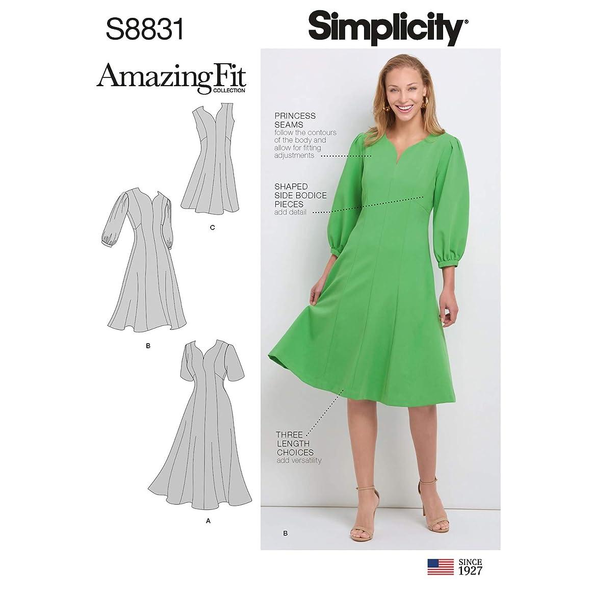 Simplicity US8831AA Pattern S8831 Misses'/Women's Amazing Fit Dress, AA (10-12-14-16-18)