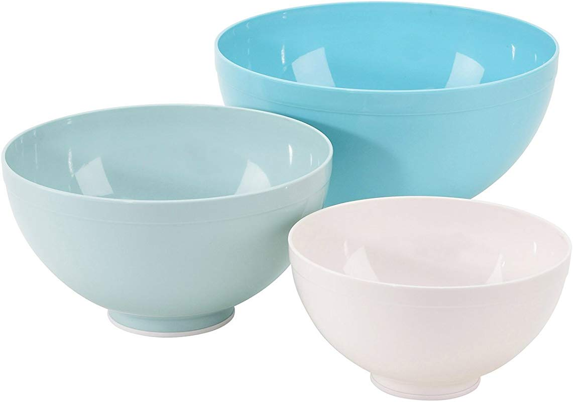Sweet Creations 3 Piece Mixing Bowl Set White And Turquoise