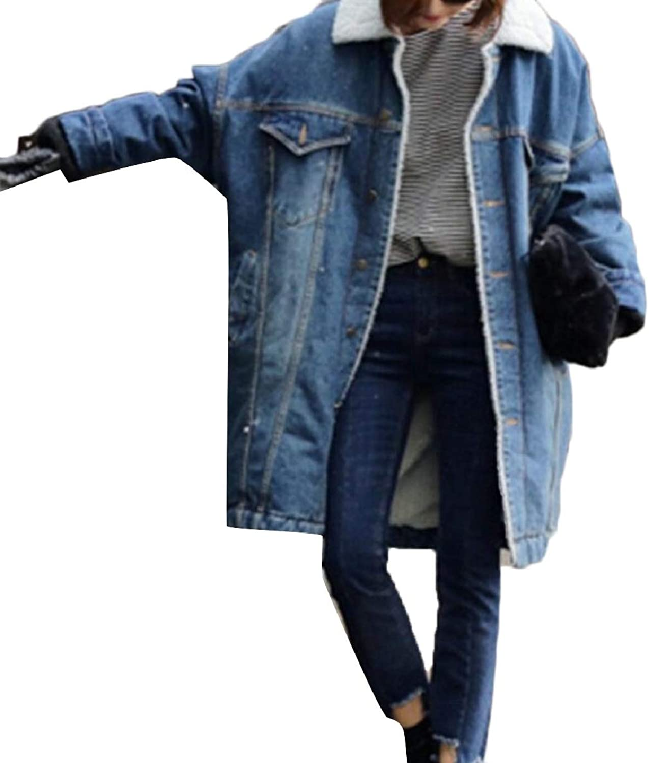 Xswsy XGCA Women's Retro Mid Long Sherpa Lined Denim Jacket Coat Outwear