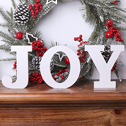Ivenf Christmas Joy Table Decoration 3 Pcs, Mantel Fireplaces Table Sign for Xmas New Year Winter Holiday Home Decorations, White…