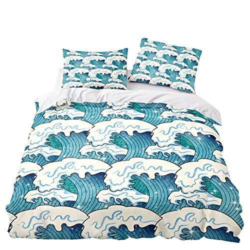 YZDM - Juego de cama para adulto, diseño 3D con estampado de reflejos del Monte en el paisaje de Lac de microfibra, funda nórdica y fundas de almohada, para decoración de dormitorio (S,135 x 200 cm)