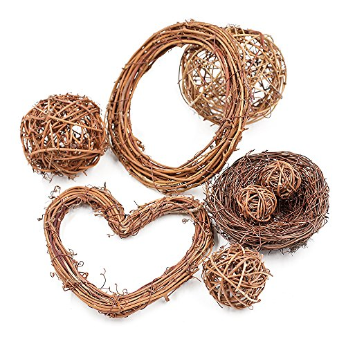 Zhi Jin 5Pcs Natural Grapevine Rattan Wreath Wedding Party Door Hanging Twiggy Garland Home Decorative 6 Inch