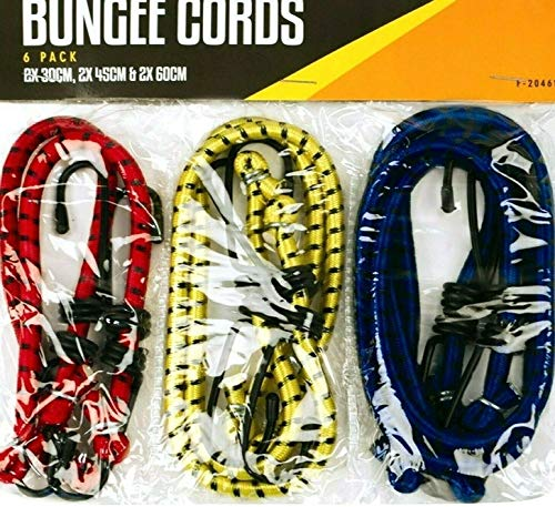 JMR Pack of 6 Bungee Strap Cords Set-Best for Car Luggage Elasticated-Hooked
