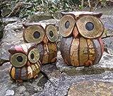 Juego de 3 búhos de decoración, 11, 9 y 7 cm, hechos a mano, comercio justo