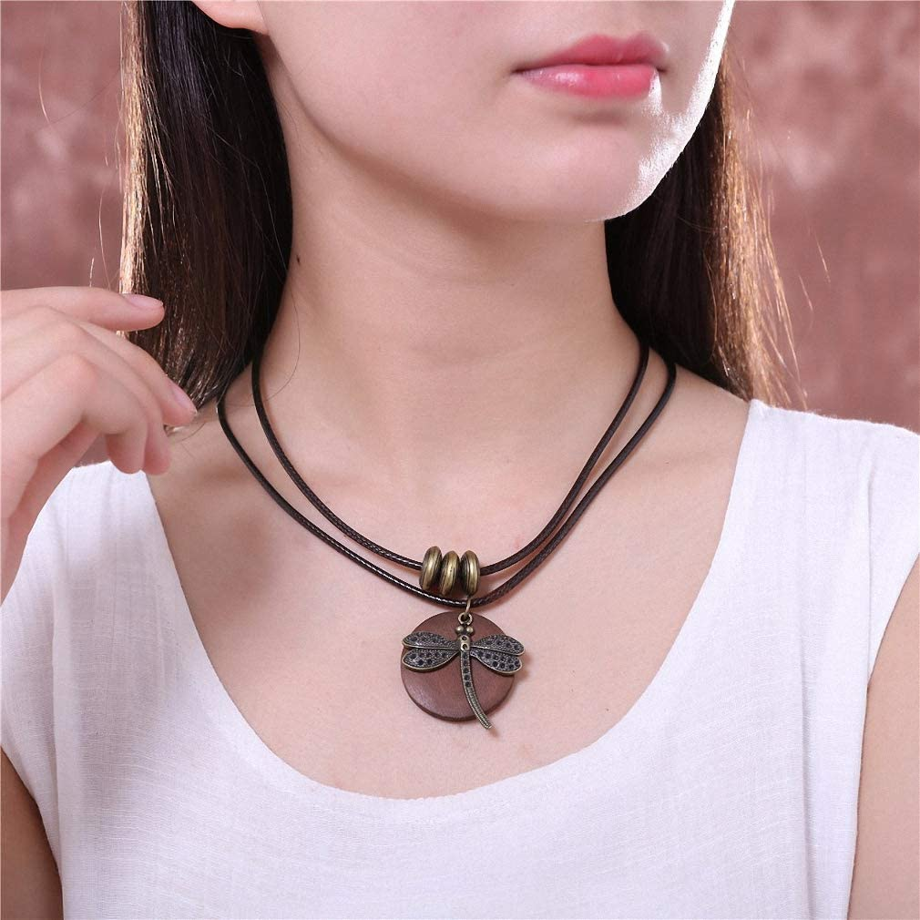 Tebapi Womens Pendant Necklaces Fashion Choker Woman Necklaces Vintage Jewelry Dragonfly Wooden Pendant Long Necklace for Women Collares Mujer Kolye