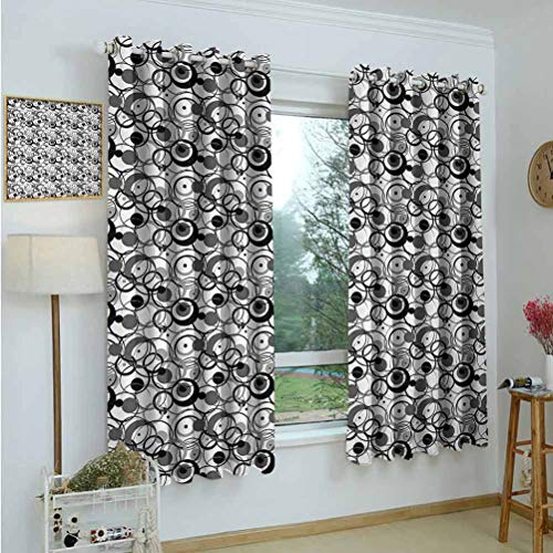 Gardome Curtains for Living Room Abstract,Monochrome Circles Dots Surreal Expressionism Inspired Geometric Modern Art,Grey Black White,Adjustable Tie Up Shade Rod Pocket Curtains 42