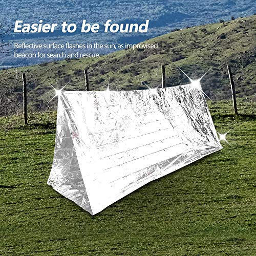 Ongoion Windproof Waterproof Emergency Blanket, Practical Reflective Blanket, PET and Aluminum for Hiking Camping