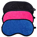 HappyDaily Beautiful and Comfortable Super Soft Microfiber Cloth Sleep Masks with Nose Pad - Set of 3 (Black/Hotpink/Blue)