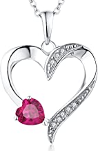 YL Heart Necklace 925 Sterling Silver Love Heart Pendant with 5MM5MM Heart Blue Sapphire/Ruby/Pink/Amethyst/Cubic Zirconia Birthstone Women Jewelry