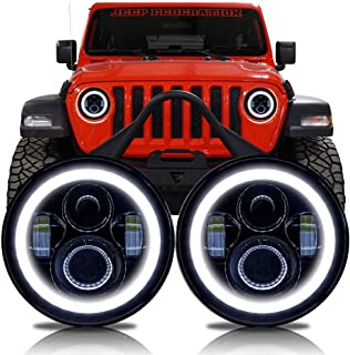 LED Black Projector Headlights Headlamp Compatible with Jeep Wrangler JL Gladiator 2018+ w/Factory Halogen Lamps