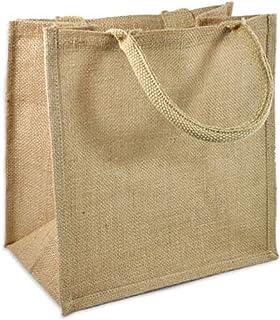 (Pack of 12) Jute/Burlap Tote Bags Soft Cotton Handles Laminated Interior Medium Beige