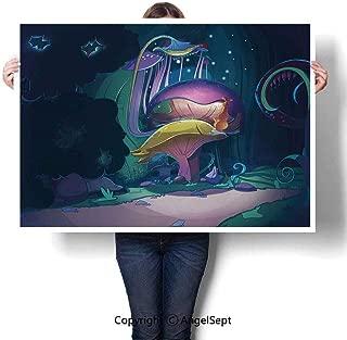 RWNFA Fashion Frameless Canvas Paintings,Big Magical Plant in Fairytale Forest at Midnight Children Book Design Wonderland Multicolor,W48 xL32,Artwork Modern Home Decor Wall Art