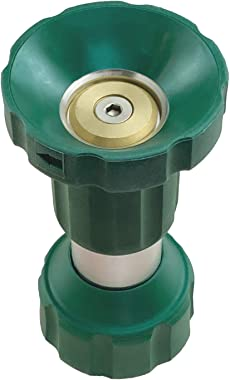 H2O WORKS Heavy Duty Metal Fireman's Style Spray Nozzle,Solid Water Garden Twist Nozzle,from Soft Sprayer for Watering Lawn or Garden Flowers to Powerful Water Flow for Driveway Washing Deck Cleaning