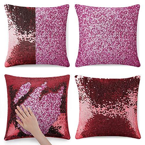 Funda de almohada de poliéster rosa caramelo impresa en ambos lados 1 paquete de 45 cm x 45 cm