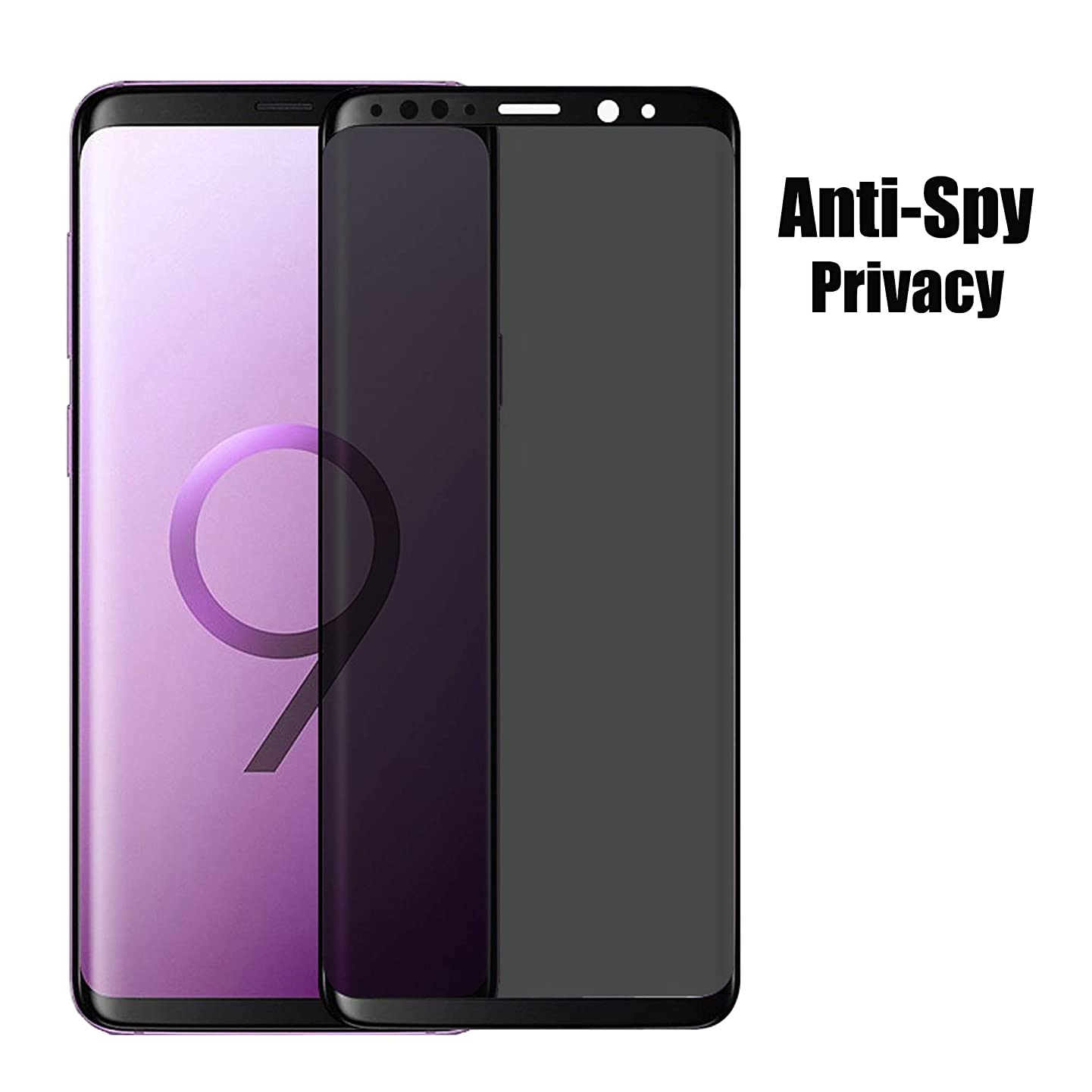 HOMRUI for Samsung Galaxy S9Plus Privacy Screen Protector, High Definition Ultra Clear and 3D Full Coverage Tempered Glass Screen Protector Film for Samsung Galaxy S9Plus(Black)