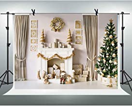 Merry Christmas Photography Backdrop 8X6FT Holly White Fireplace Xmas Gifts Background Theme Party Decoration Backdrop Studio YouTube Photo Booth Props TVV115 LELELZ