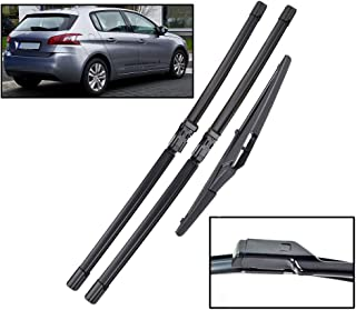Xukey Juego de escobillas limpiaparabrisas delanteras y traseras para 308 T9 Hatchback 2014-2020 (