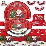 Christmas Party Supplies Christmas Paper Plates, 121 PCS Disposable Dinnerware Set Serves 30 Guests - Plates,...