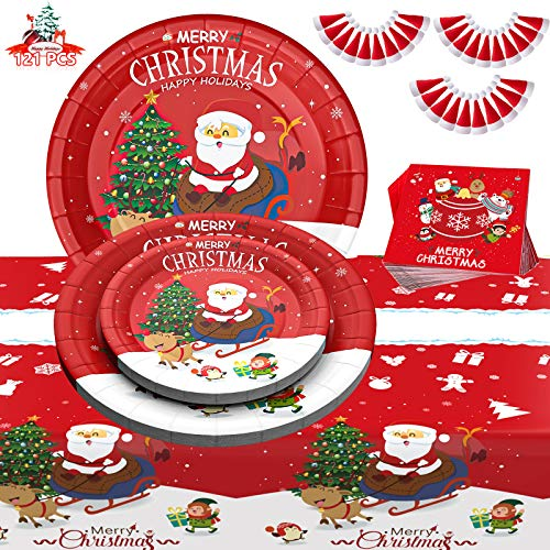 Christmas Party Supplies Christmas Paper Plates, 121 PCS Disposable Dinnerware Set Serves 30 Guests - Plates, Napkins, Tablecloth, Mini Christmas Hats for Christmas Themed Parties