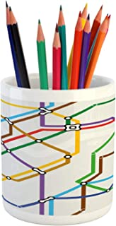 Ambesonne Map Pencil Pen Holder, Stripes in Vibrant Colors Metro Scheme Subway Stations Abstract Railroad Transportation, Printed Ceramic Pencil Pen Holder for Desk Office Accessory, Multicolor