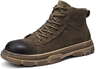 Happy-L Shoes, Classic Outdoor Combat Boots for Men Ankle Shoes Lace Up Genuine Leather Waterproof Breathable Fleece Lined Burnished Style Lug Sole