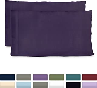 Cosy House Collection Premium Bamboo Pillowcases - Standard, Purple Pillow Case Set of 2 - Ultra Soft & Cool Hypoallergenic Blend from Natural Bamboo Fiber