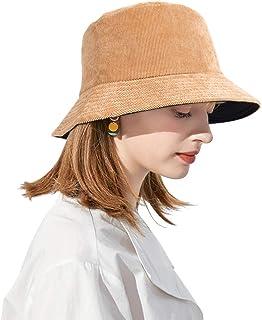 DOCILA Corduroy Bucket Hat for Women Reversible Soft Wool Fisherman Caps Warm Faux Fur Windproof Winter Sunshade Hats