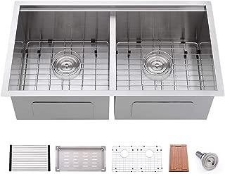 Bokaiya 33 Inch Undermount Double Kitchen Sink Workstation Ledge 16 Gauge Tight Radius 50/50 Double Bowl Stainless Steel Kitchen Sink