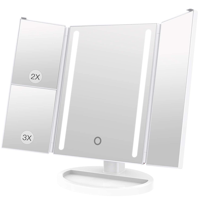 合金でも警告LEEPWEI 化粧鏡 LED 三面鏡 2&3倍拡大鏡付き 明るさ調節可能 180度回転 USB/単三電池給電 (ホワイト)