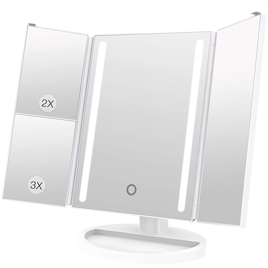 心のこもったみすぼらしい良心LEEPWEI 化粧鏡 LED 三面鏡 2&3倍拡大鏡付き 明るさ調節可能 180度回転 USB/単三電池給電 (ホワイト)