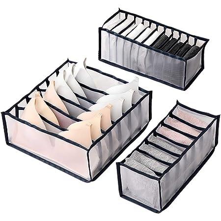 Wishstar Box Rangement sous Vetement, Organisateurs de Tiroirs Pliable pour sous-Vêtements Trois Pièces, Organisateur tiroir pour sous-Vêtements, Soutien Gorge, Culottes, Chaussettes(Noir)
